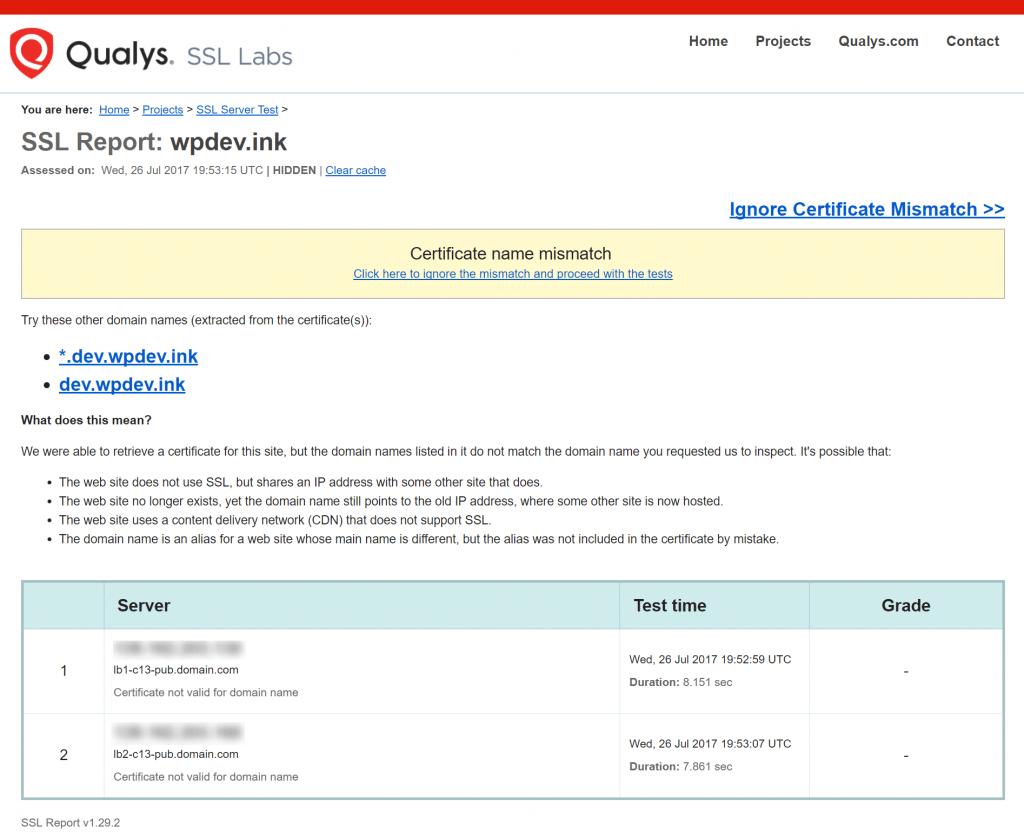 Falta de coincidencia de nombre de certificado