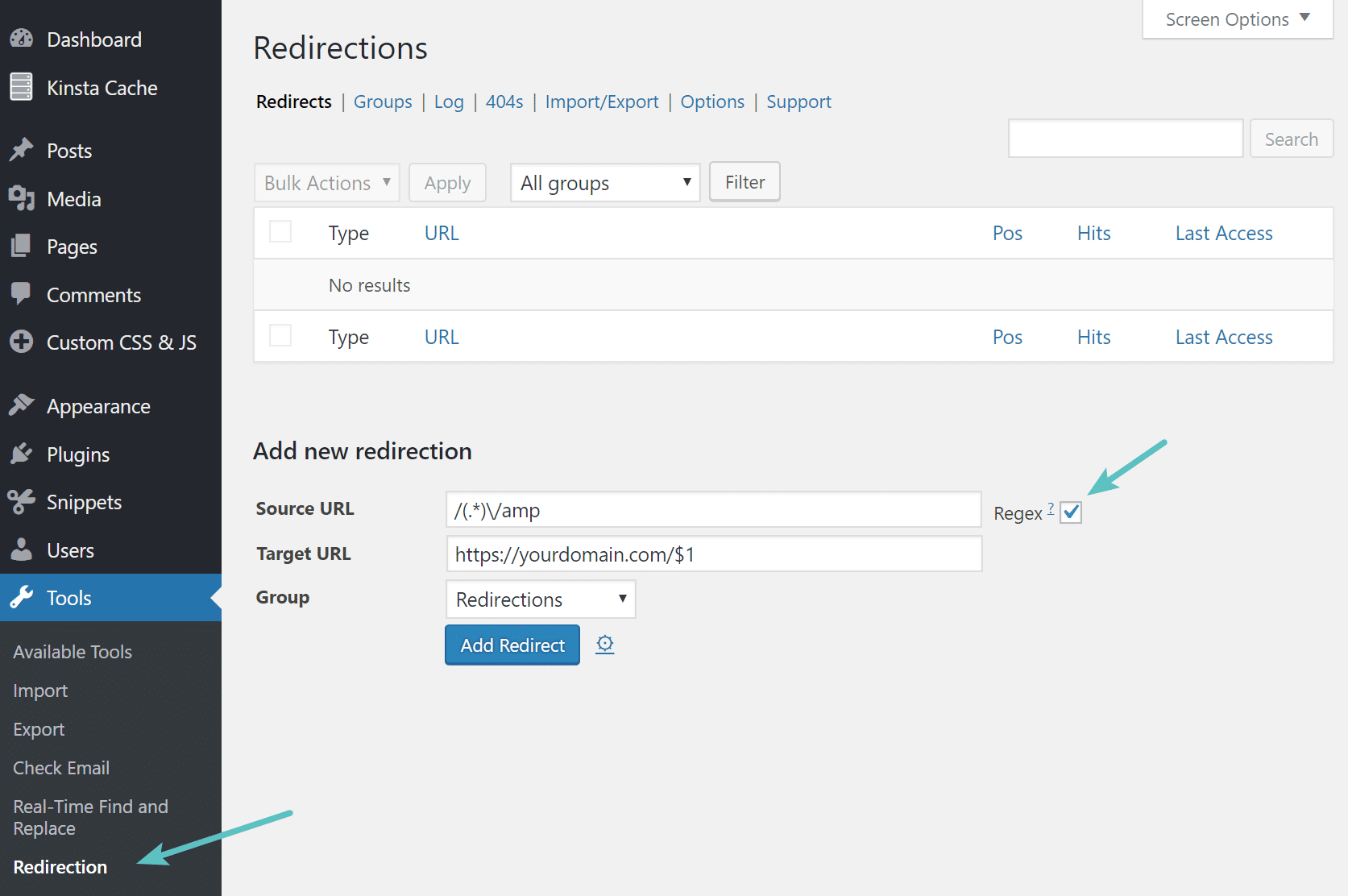 Expresión regular en Redirection WordPress plugin