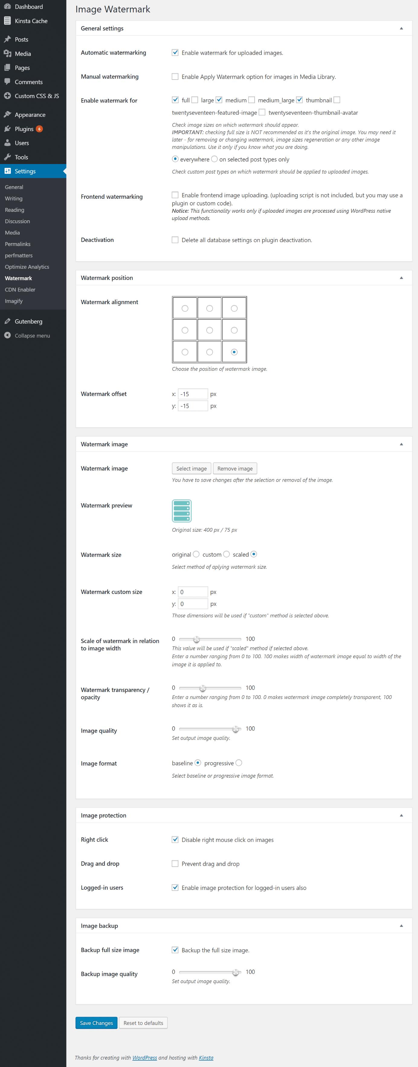 Configuración de Watermark