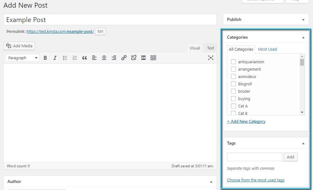 Las taxonomías en el Editor de WordPress
