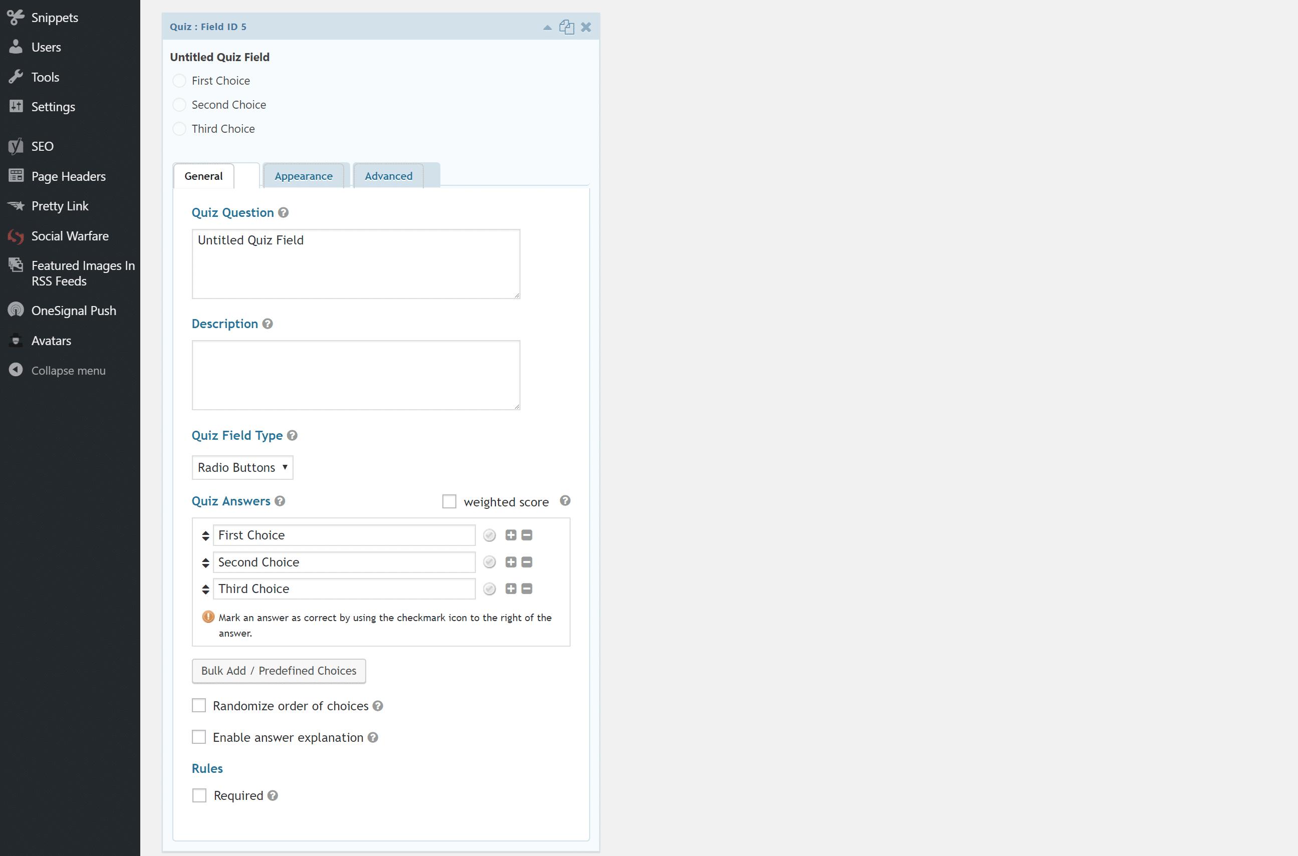 Opciones de Gravity Forms Quiz