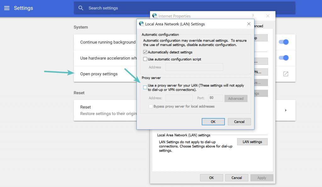 Deshabilitar la configuración de proxy en Chrome