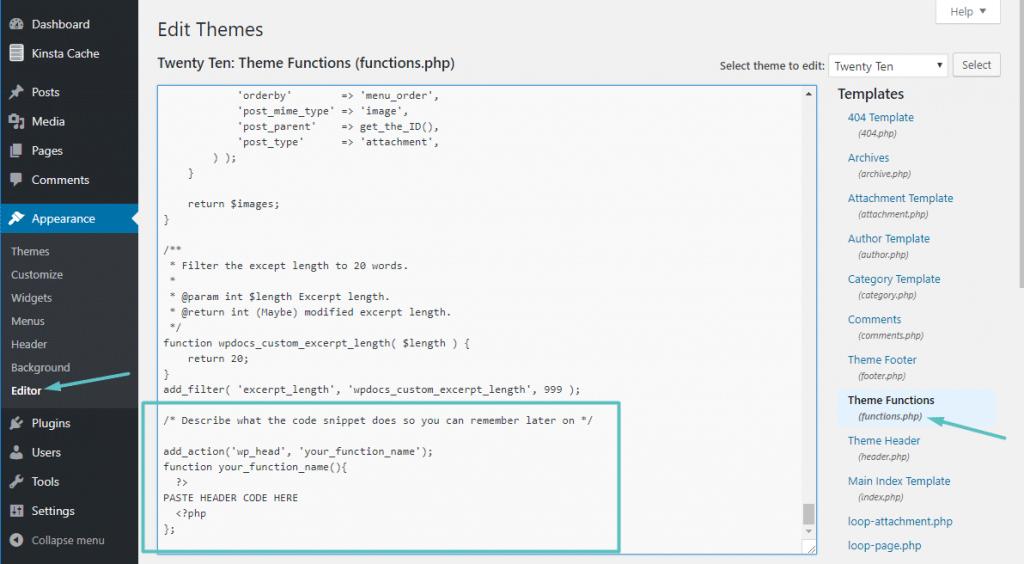 Añadir código al archivo functions.php