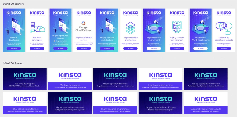 Banners para los afiliados de Kinsta