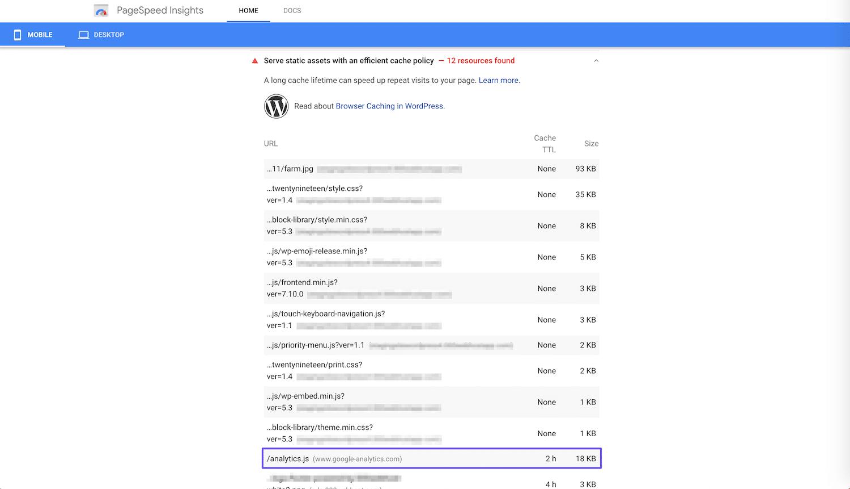 Un ejemplo de advertencia de Google Analytics