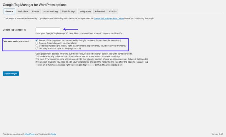 Añadir el ID del contenedor al plugin de Google Tag Manager