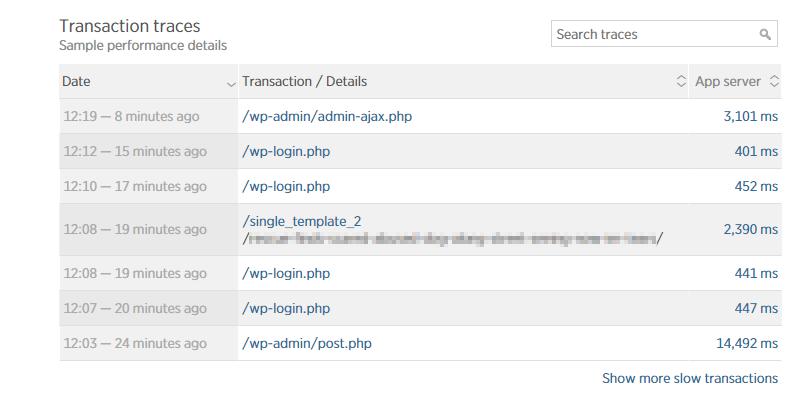 New Relic rastros de transacción
