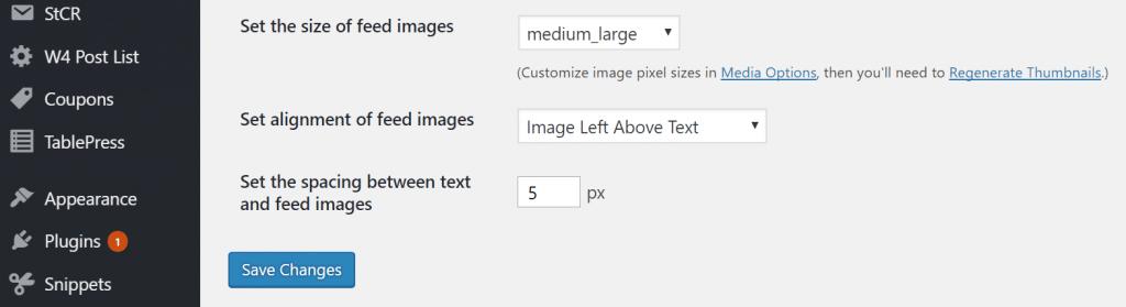 Configuración de imágenes destacadas en RSS feed