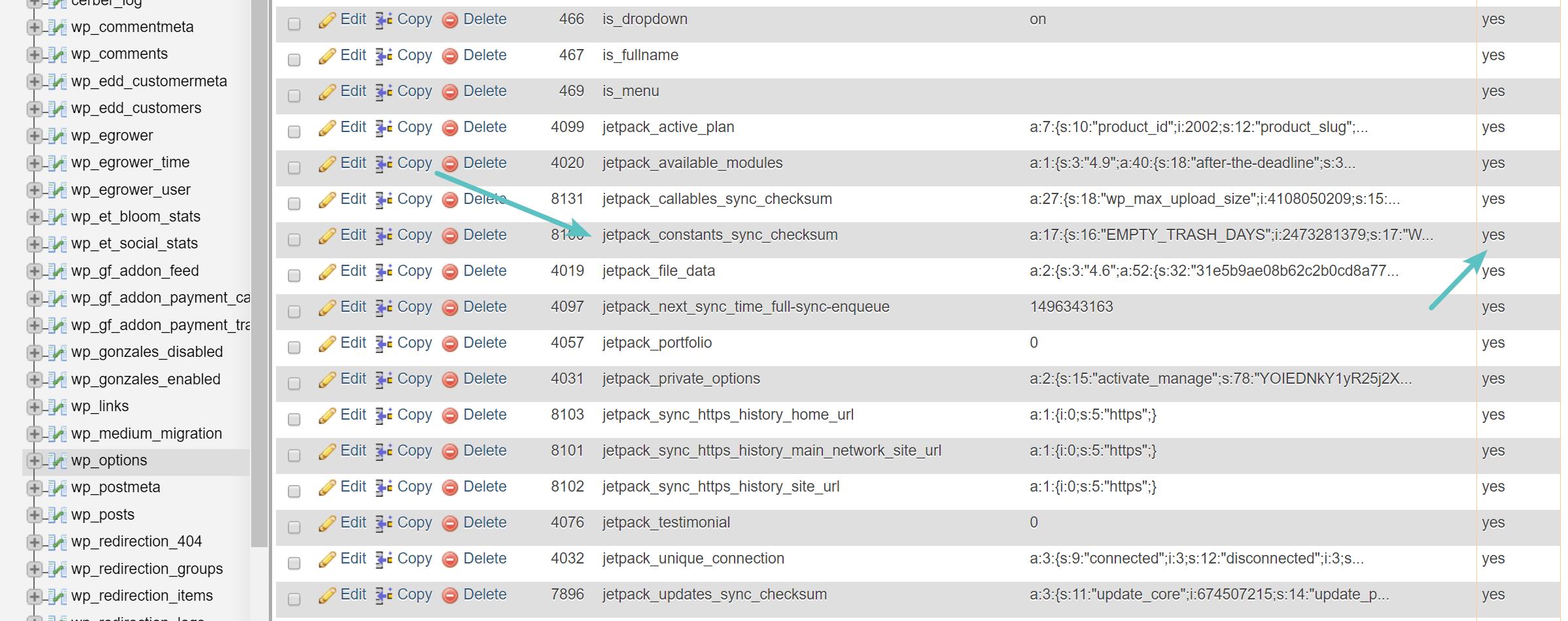 Datos de autocarga viejos