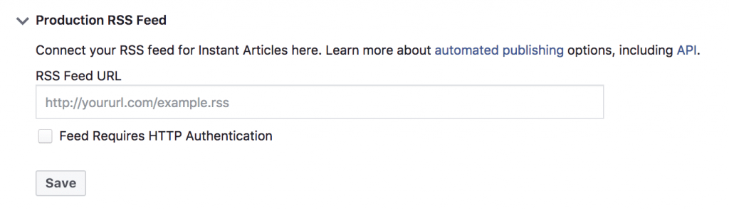 Facebook Instantánea producción de artículos RSS Feed
