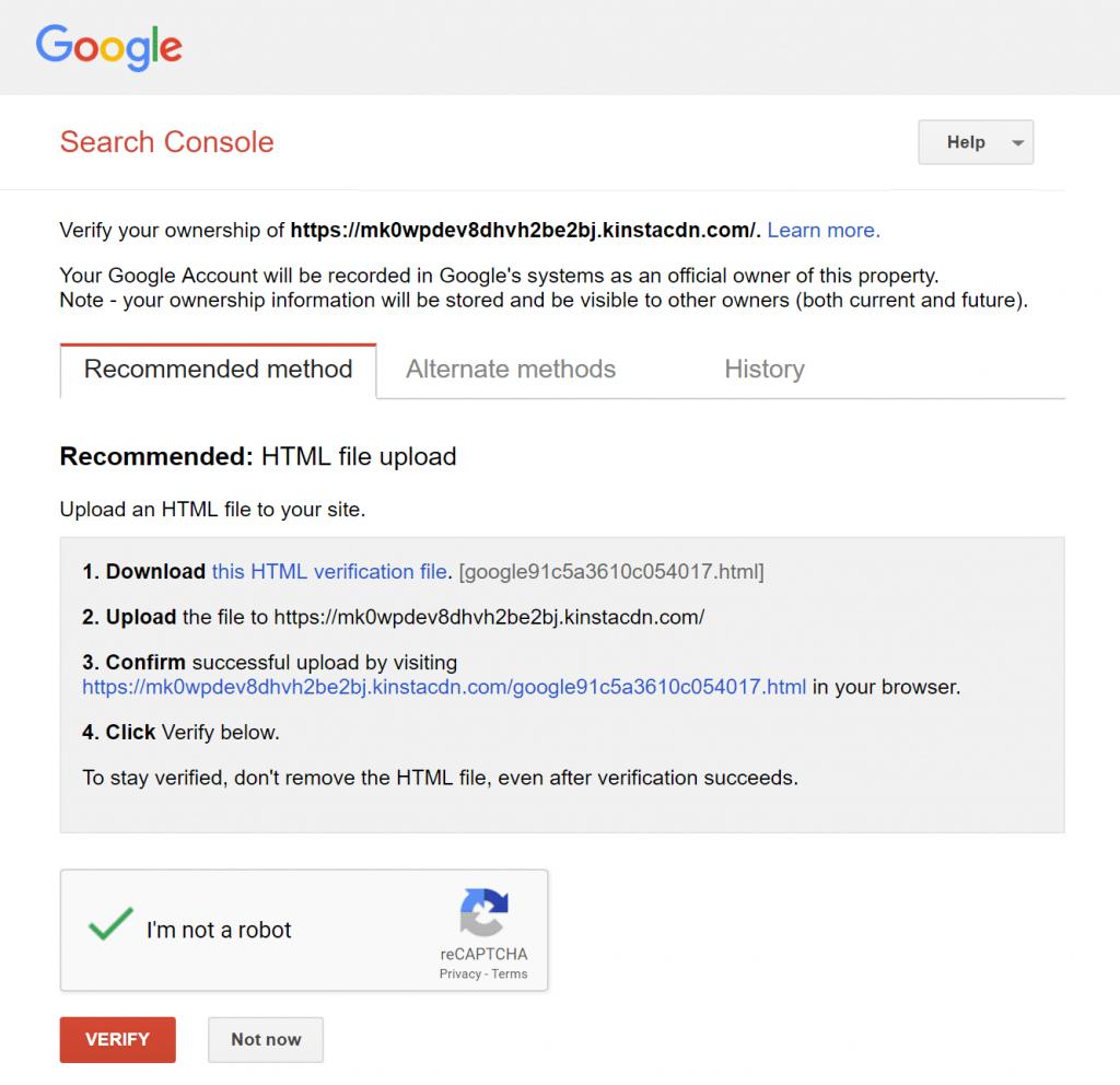 Archivo de verificación HTML