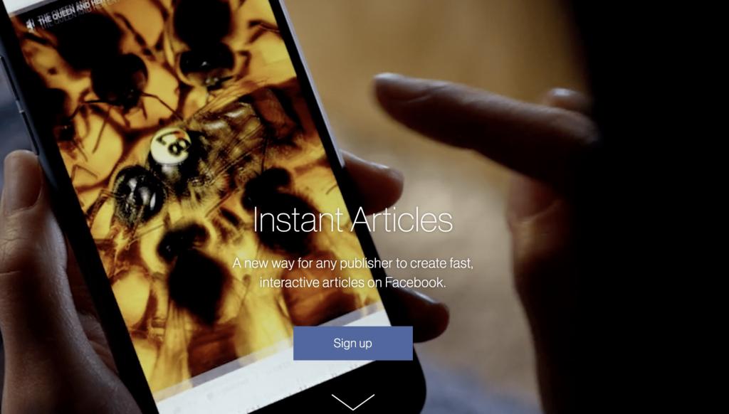 Sitio web de Facebook Instant Articles