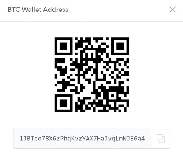 Dirección de billetera Bitcoin