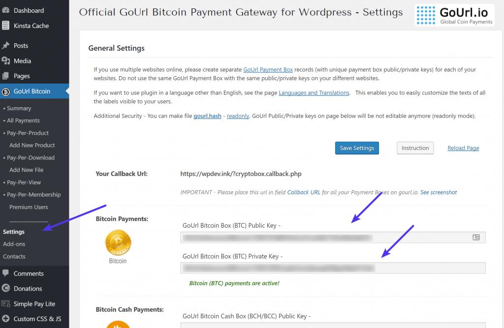 Claves GoURL Bitcoin