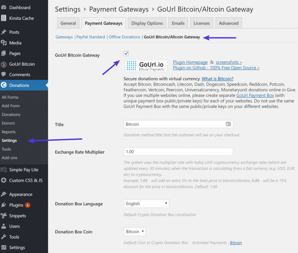 Habilitar Bitcoin en el plugin Give