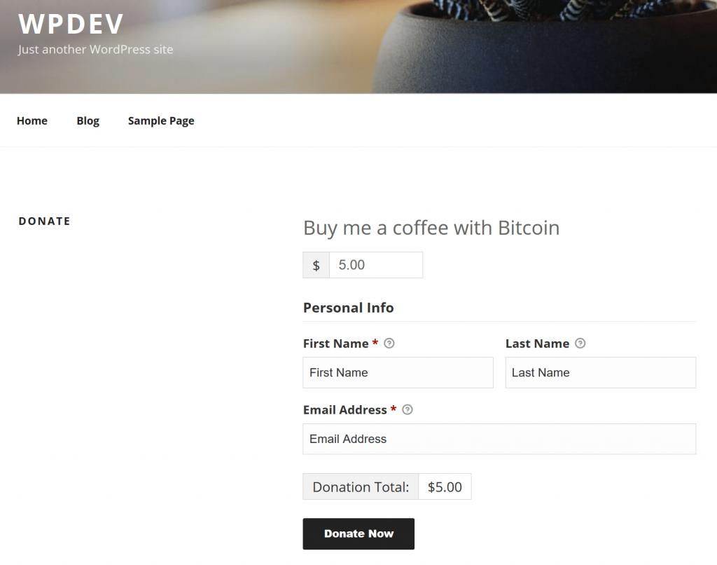 Botón de donación de Bitcoin