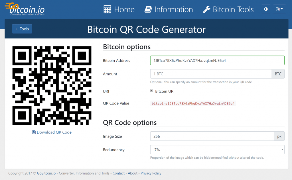 Generador de Código Bitcoin QR