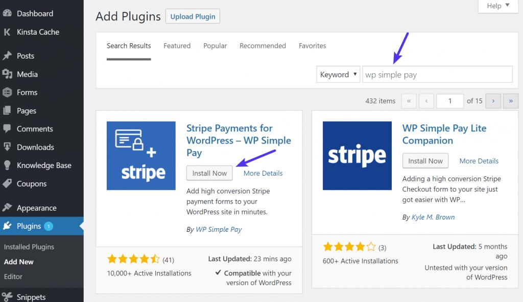 Instalar el plugin WP Simple Pay Lite
