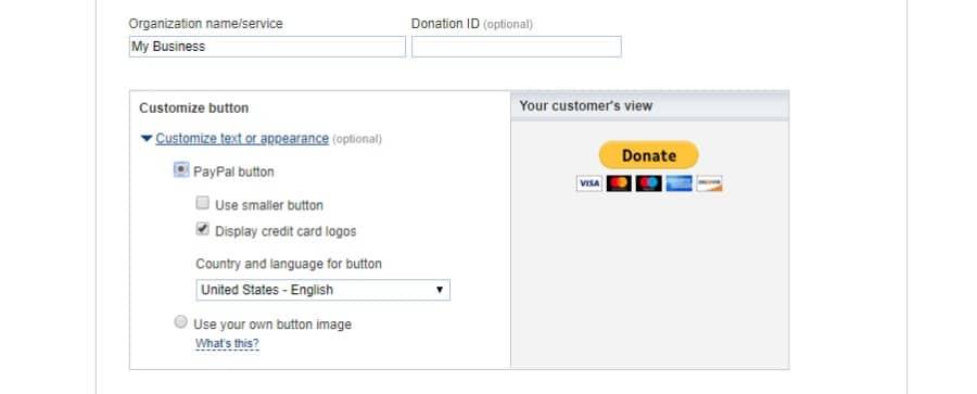 Detalles del botón de donativo de PayPal