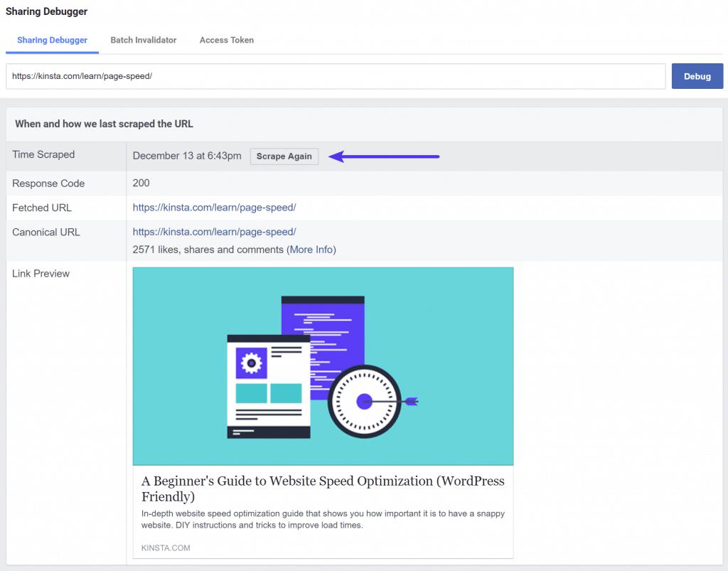 Volver a Raspar en Facebook Debugger