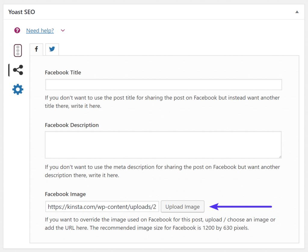Casilla social de Yoast SEO para Facebook