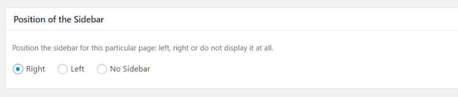 La posición de la barra lateral de WordPress