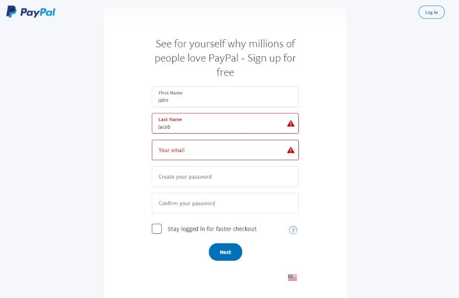 Formulario de inscripción de PayPal