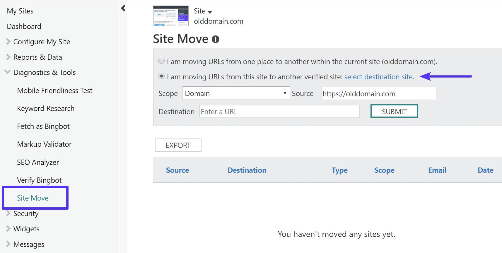 Movimiento del sitio en Bing Webmaster Tools