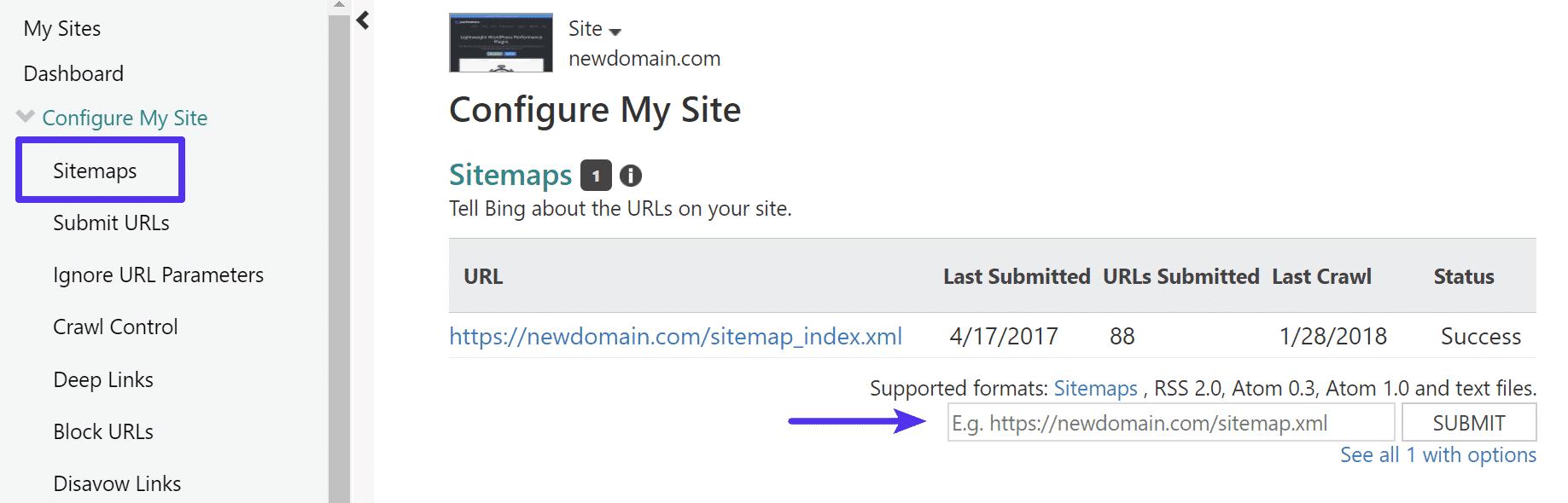 Enviar archivo de sitemap en Bing Webmaster Tools