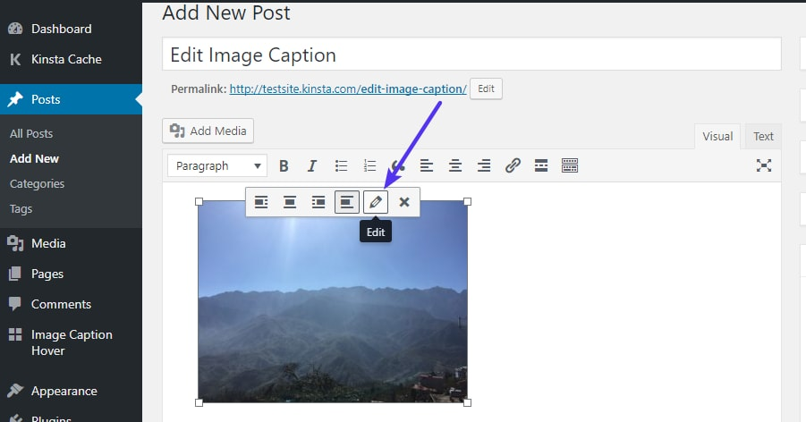 Como editar una imagen de WordPress