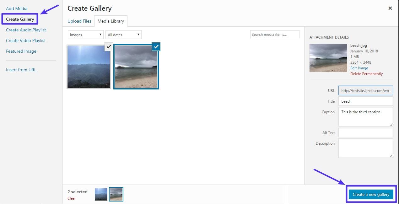 Como crear una nueva galería de imágenes en WordPress