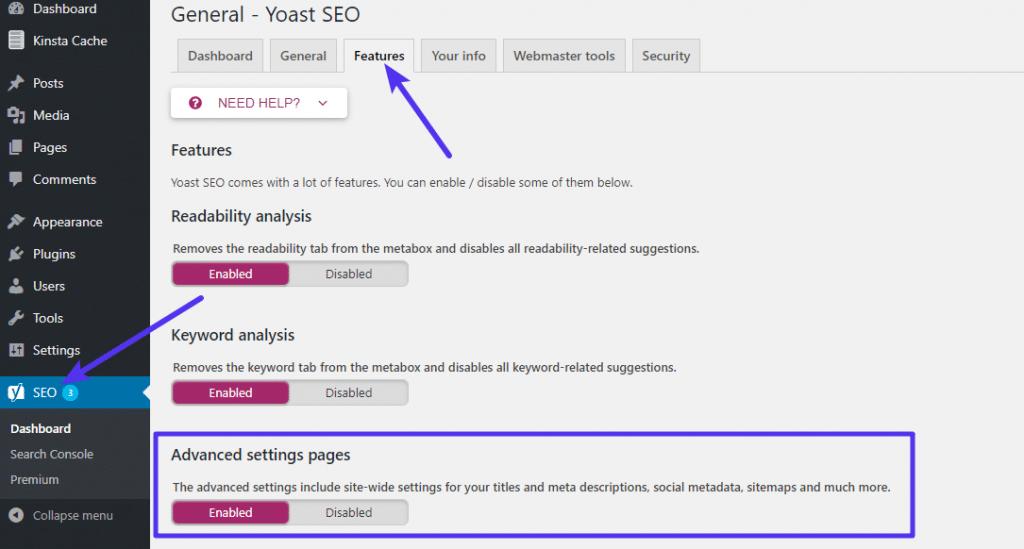 Cómo activar el control avanzado del mapa del sitio XML en Yoast