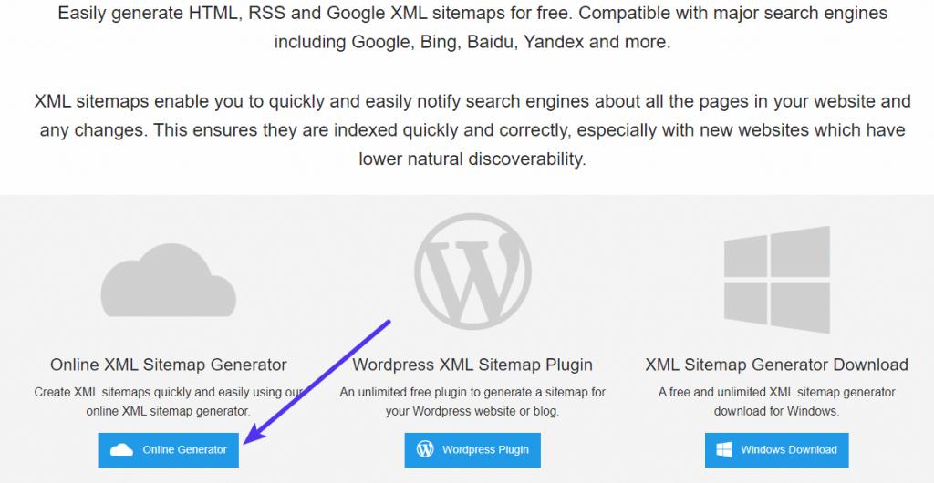 Usando el XML Sitemap Generator