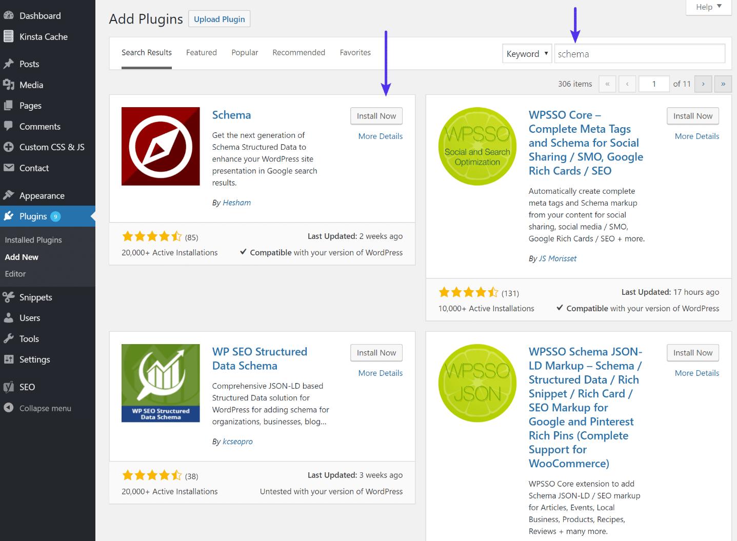 Instalación del plugin Schema de WordPress
