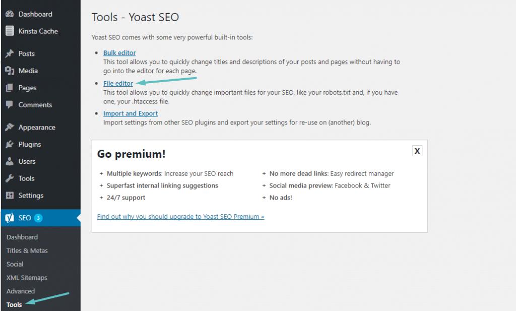 Cómo acceder al editor de archivo Yoast
