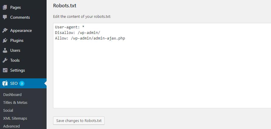 Cómo editar robots.txt en Yoast