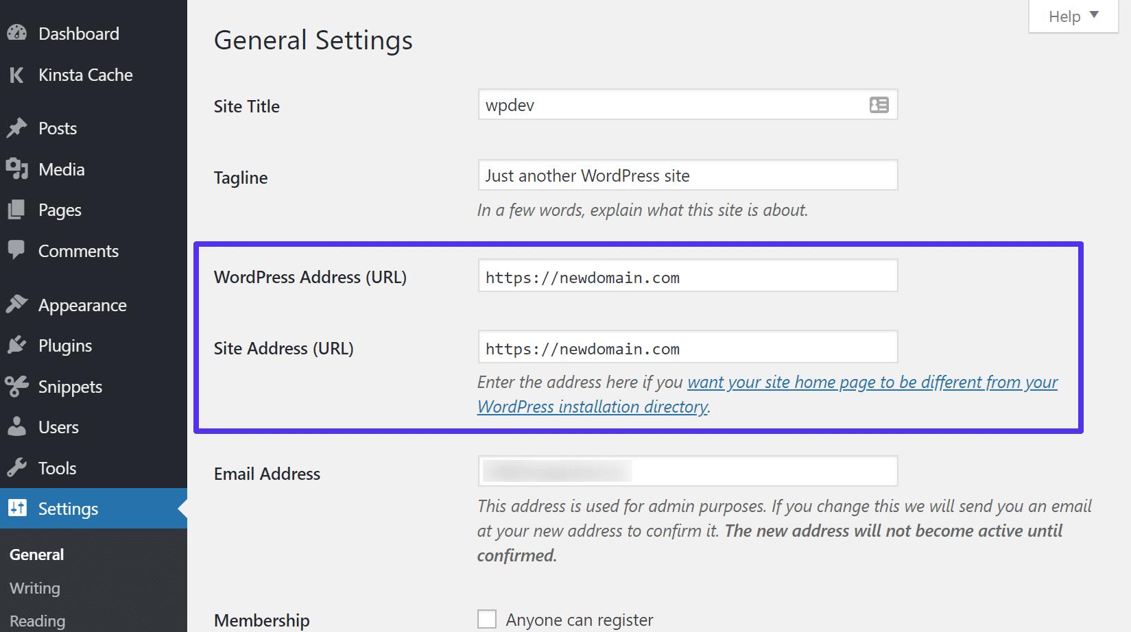 Actualizar la dirección de WordPress y la URL del sitio