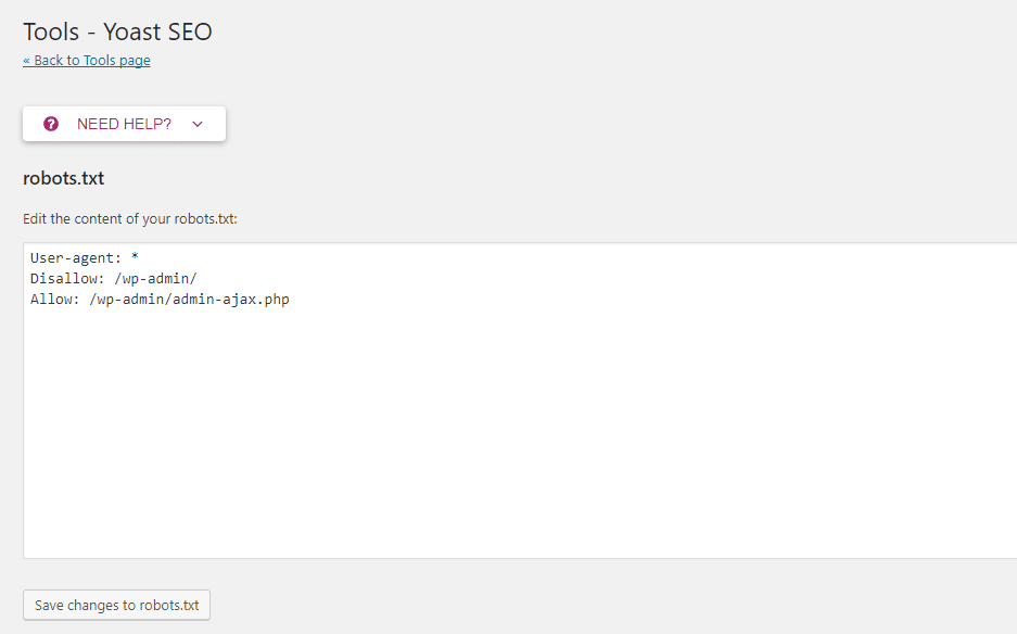 Yoast SEO le permite editar su archivo robots.txt desde su dashboard