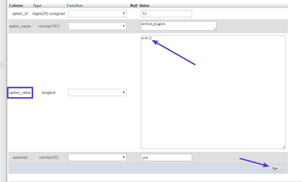 Cómo editar la entrada active_plugins