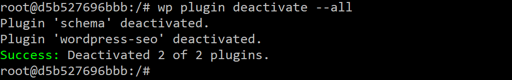 WP-CLI desactiva todos los plugins