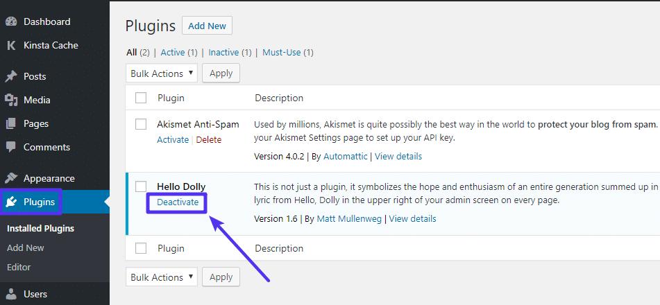 Como desactivar un plugin desde su panel de control de WordPress