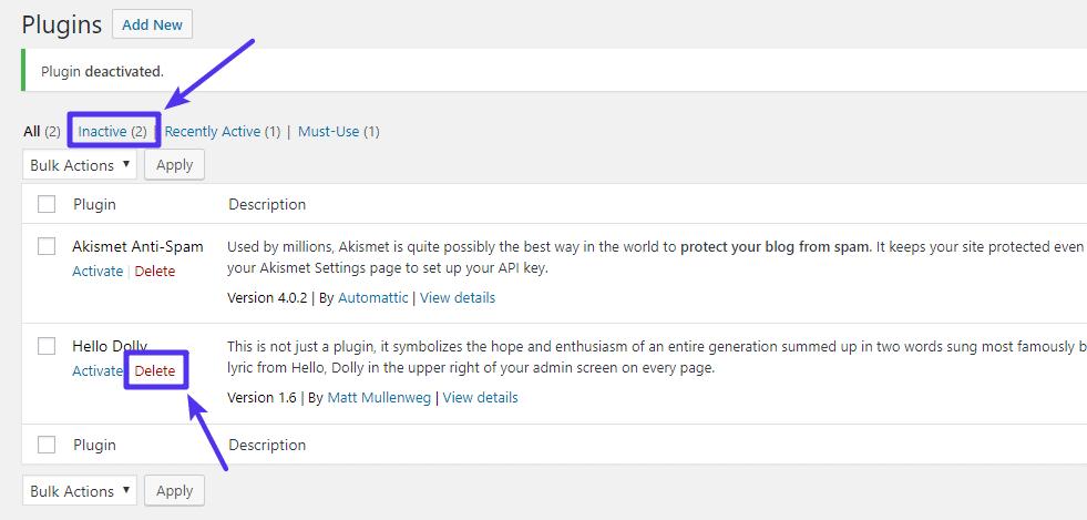 Cómo eliminar un plugin de WordPress después de desactivarlo