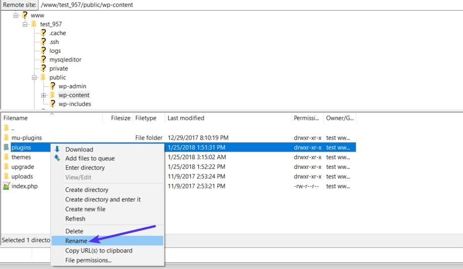 Cómo cambiar el nombre de la carpeta de plugins