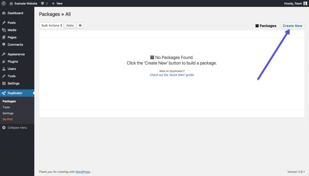 Crear el Nuevo paquete con WordPress Duplicator