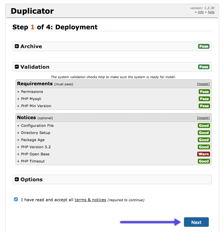 WordPress Duplicator plugin: despliegue