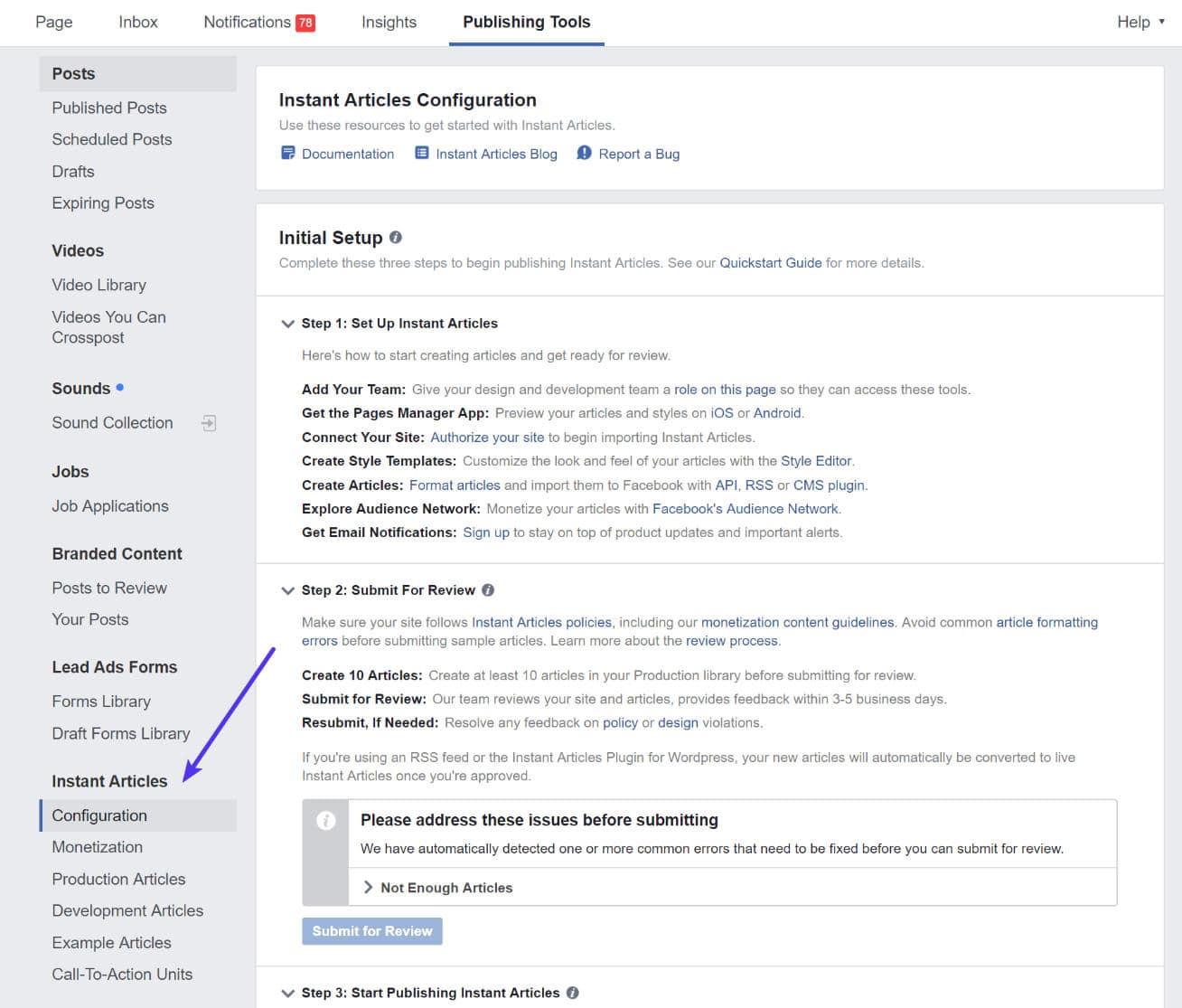 Herramientas de publicación de artículos instantáneos en Facebook