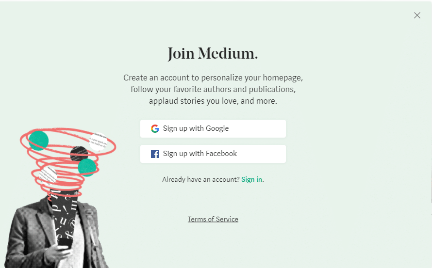La página de registro de Medium