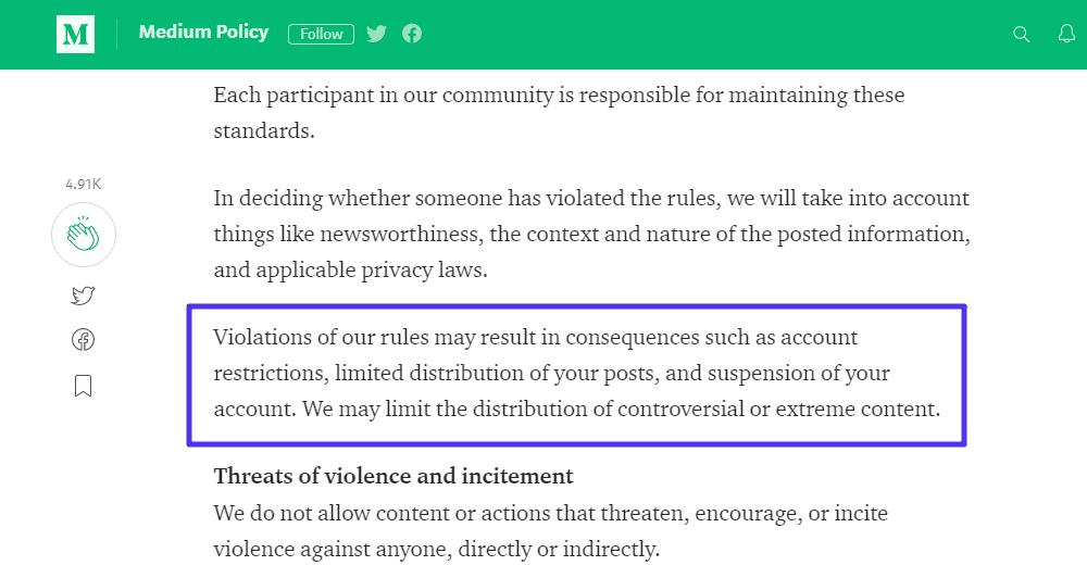 Un ejemplo de las reglas de contenido de Medium