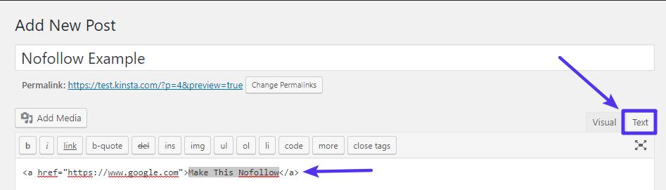 Abra la pestaña de texto para ver el HTML del link
