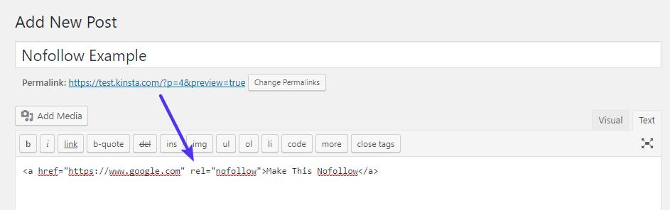 Añadir atributo nofollow al HTML del link